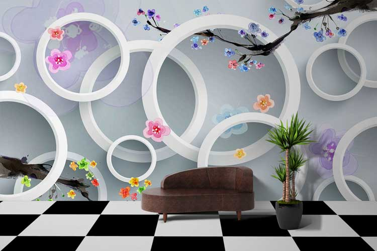 Circles 3D With Flowers