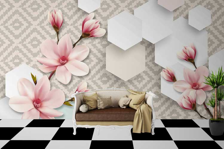 3D Flower Drawing Wall
