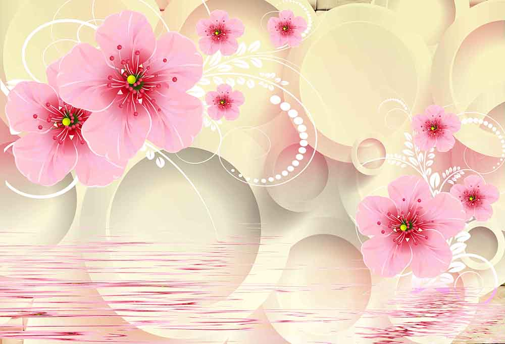 Pink Flower with Circle