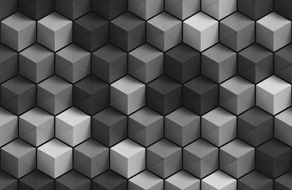 Cubes Black and White Perspective