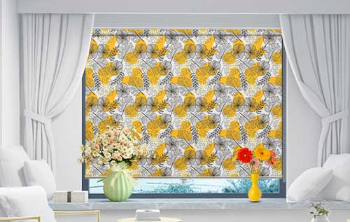 Black And Yellow Floral Pattern